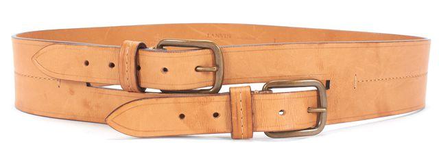 LANVIN Tan Leather Double Buckle Belt
