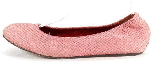 LANVIN Pink Snake Emboss Leather Round Toe Ballet Flats