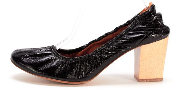LANVIN Black Patent Leather Elasticized Wooden Heel