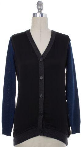 LANVIN Black Blue Gray Wool Silk Combo Cardigan Fits Like a L