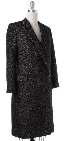 LANVIN Black Beige Tweed Basic Coat