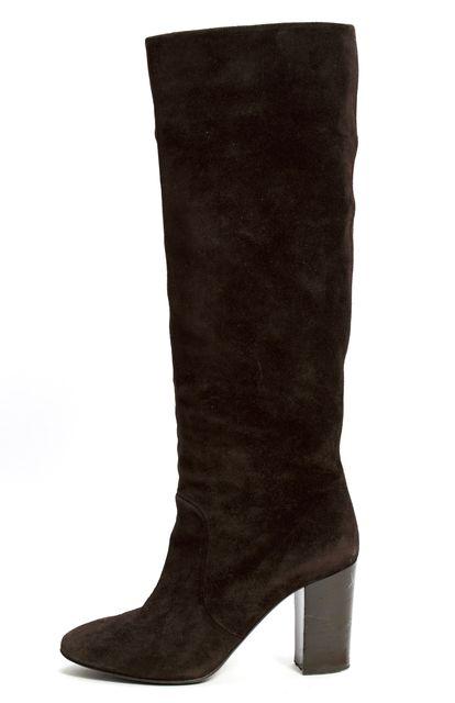 LANVIN Brown Suede Mid-Calf Heel Boots