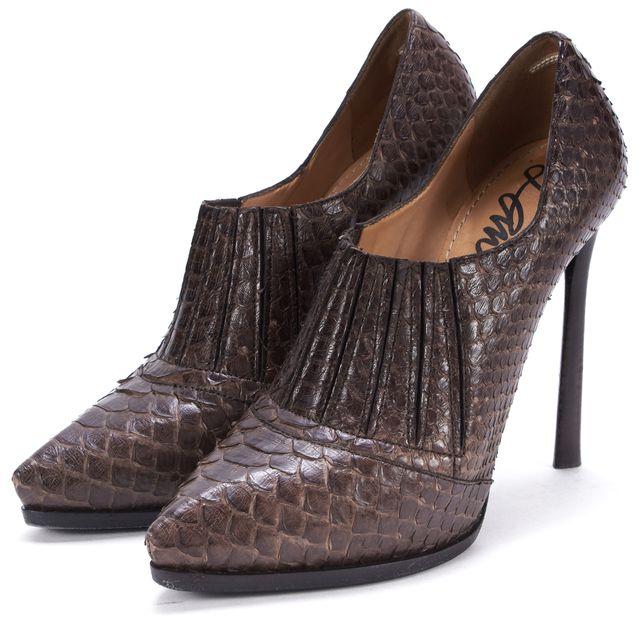 LANVIN Brown Python Pointed Toe Bootie Heels
