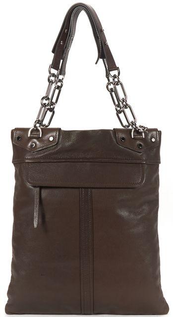 LANVIN Brown Leather Chain Strap Tote Bag