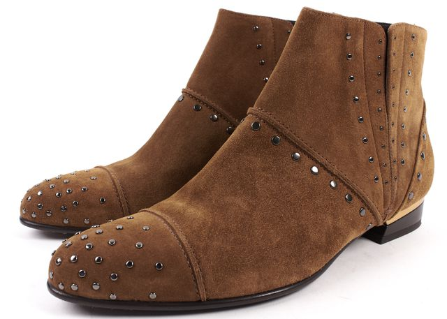 LANVIN Brown Suede Studded Ankle Boots