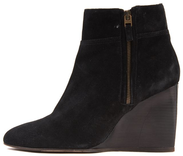 LANVIN Black Suede Wood Wedge Ankle Boots