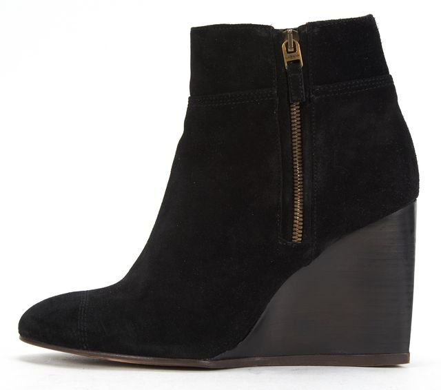 LANVIN Black Suede Wedge Ankle Boots