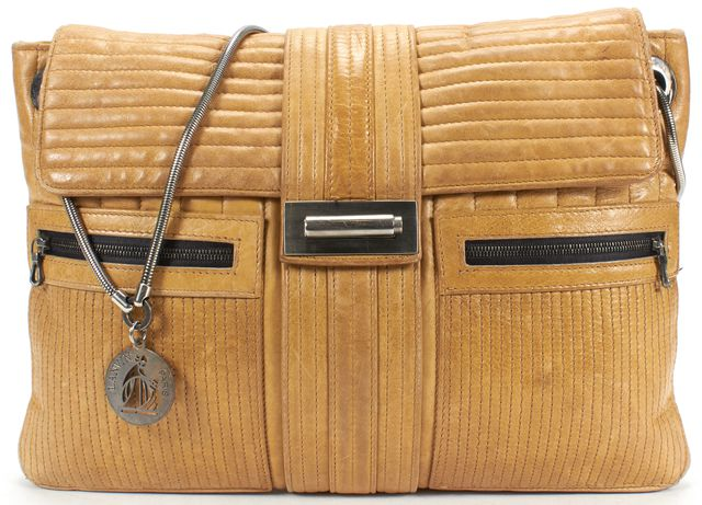 LANVIN Light Brown Quilted Leather Chain Shoulder Bag