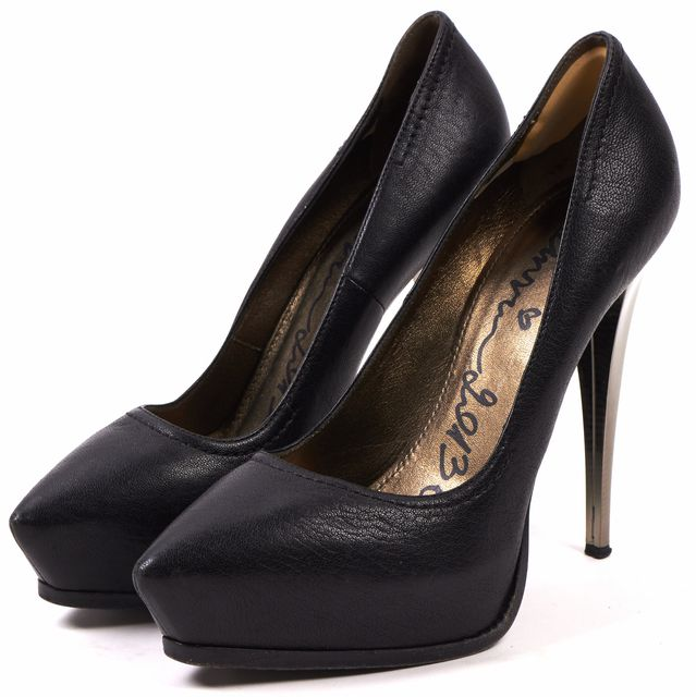 LANVIN Black Leather Pointed Toe Platform Pump Heels