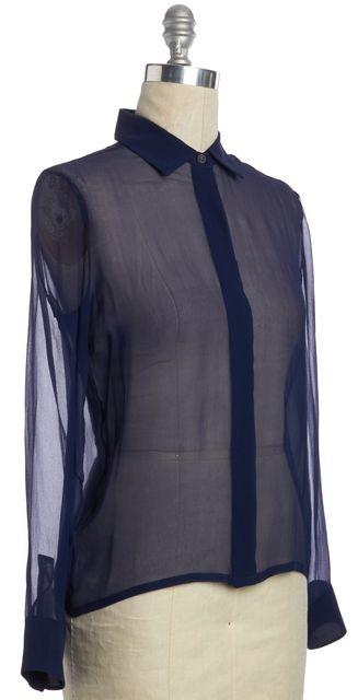 LANVIN Dark Blue Sheer Button Down Shirt Top