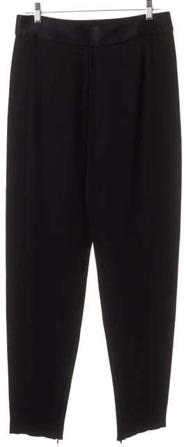 LANVIN Black Silk Straight Leg Trousers Pants