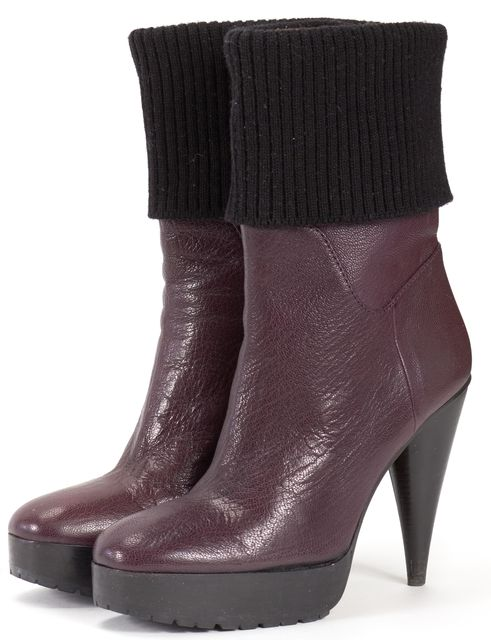 LANVIN Purple Leather With Fabric Cone Heel Platform Ankle Boots