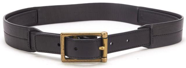 LANVIN Black Leather Double Buckle Detail Skinny Belt