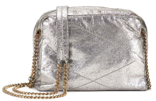 LANVIN Silver Leather Mini Sugar Chain Strap Crossbody Bag