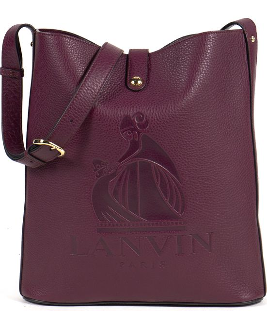 LANVIN Aubergin Purple Leather Nomad Shopper Tote Bag