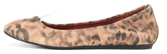LANVIN Beige Black Printed Leather Round Toe Ballet Flats