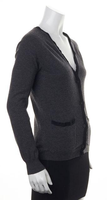 LANVIN Charcoal Gray Black Trim Button Front Wool Cardigan