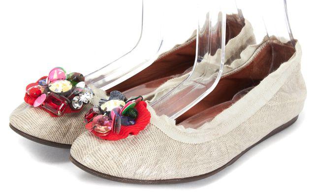 LANVIN Gray Embossed Leather Jewel Sequin Embellished Ballet Flats