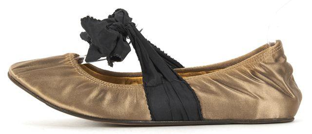 LANVIN Beige Black Satin Tie Bow Ballet Flats