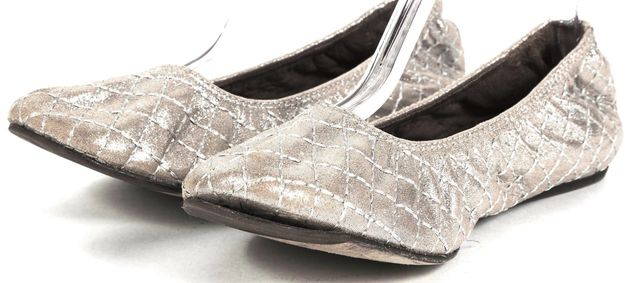 LANVIN Metallic Beige Silver Quilted Leather Ballet Flats