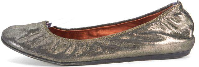 LANVIN Metallic Gold Leather Ballet Flats