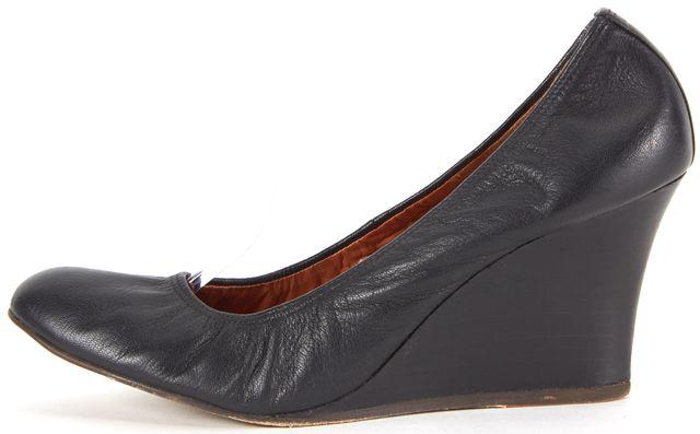 LANVIN Black Leather Ballet Wedges