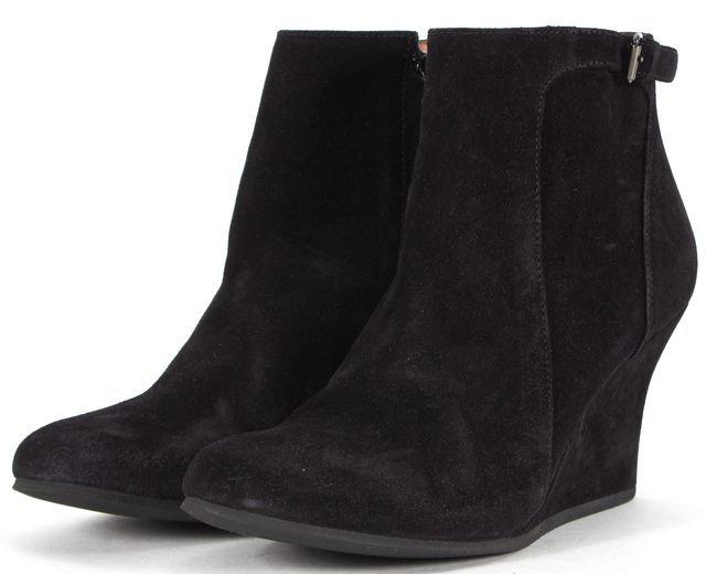 LANVIN Black Suede Wedged Ankle Boot
