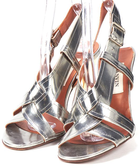LANVIN Silver Leather Twisted Ankle Strap Sandal Heels