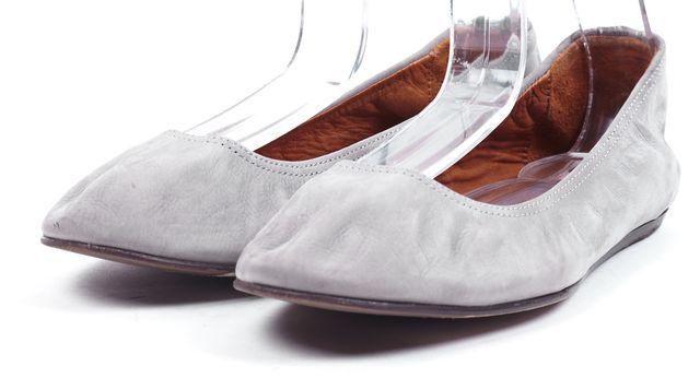 LANVIN Gray Nubuck Leather Ballet Flats
