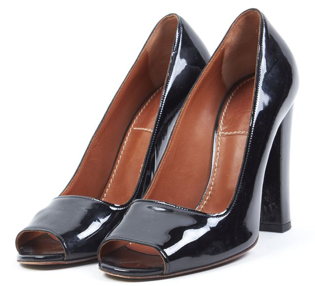 LANVIN Black Patent Leather Open Toe Block Heels