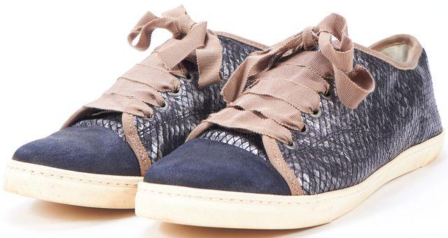 LANVIN Black Snakeskin Embossed Leather Cap Toe Sneakers