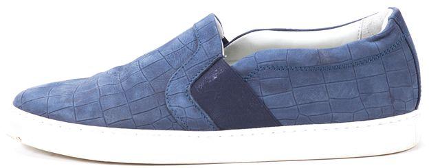 LANVIN Blue Embossed Leather Slip-On Sneakers US 8 IT 39
