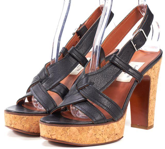 LANVIN Black Genuine Leather Cork Platform Strap Sandal Heels