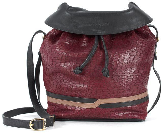 LANVIN Burgundy Red Black Beige Snakeskin Leather Bucket Crossbody