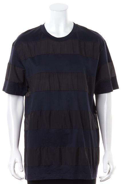 LANVIN Blue Black Striped Basic Short Sleeve T-Shirt