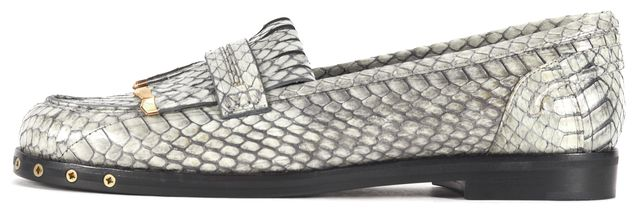 LANVIN Gray Embellished Python Leather Kiltie Loafers