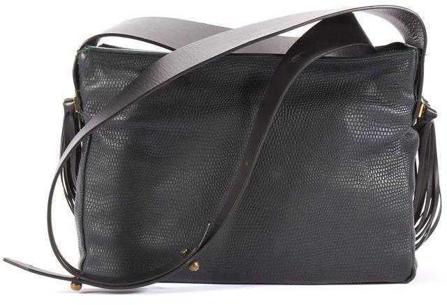 LANVIN Hunter Green Tassel Sides & Crystal Embellished Buttons Shoulder Bag