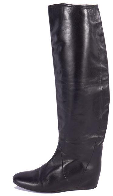 LANVIN Black Leather Hidden Wedge Mid-Calf Boots