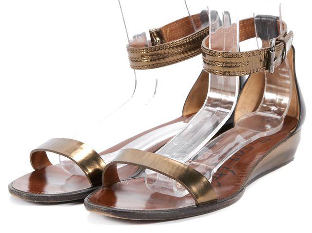 LANVIN Brown Gold Leather Slingback Open Toe Sandals Size US 9.5 FR 41