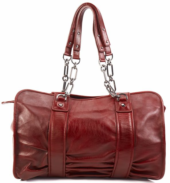 LANVIN Burgundy Chrome Tone Gold Branded Chain Link Leather Top Handle tote Bags