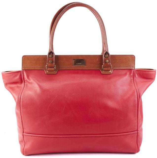 LANVIN Red Leather Tote Handbag W/ Zipper Pouch