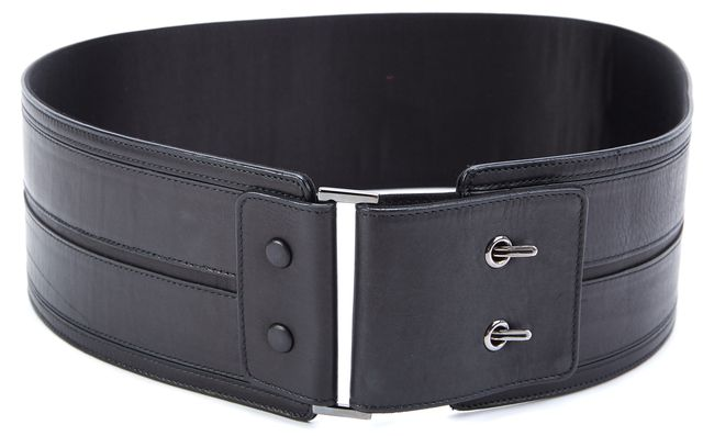 LANVIN Black Leather Waist Belt
