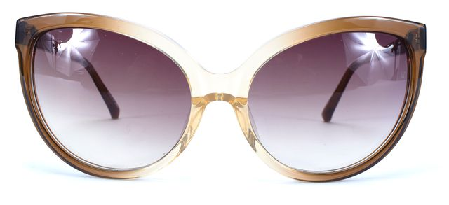 LINDA FARROW Brown Acetate Frame Gradient Lens Cat Eye Sunglasses