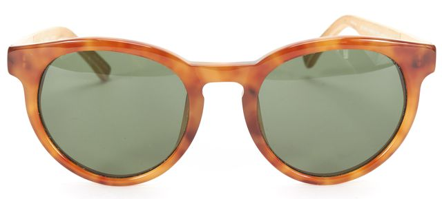 LINDA FARROW x THE ROW Brown Ivory Tortoise Acetate Leather Round Sunglasses