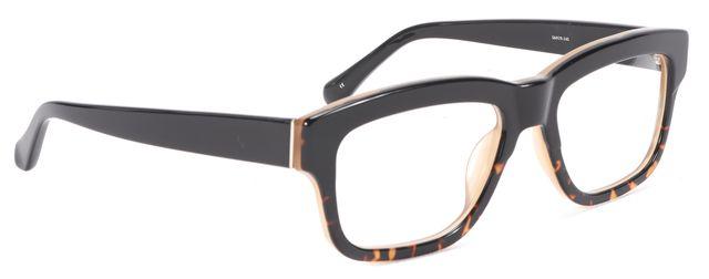 LINDA FARROW Brown Tortoiseshell clear Lense Acetate Sunglasses
