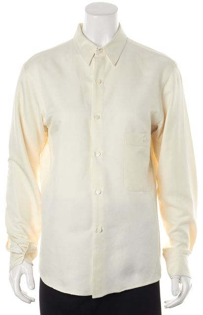 LEMAIRE Ivory Silk Long Sleeve Button Down Shirt Top