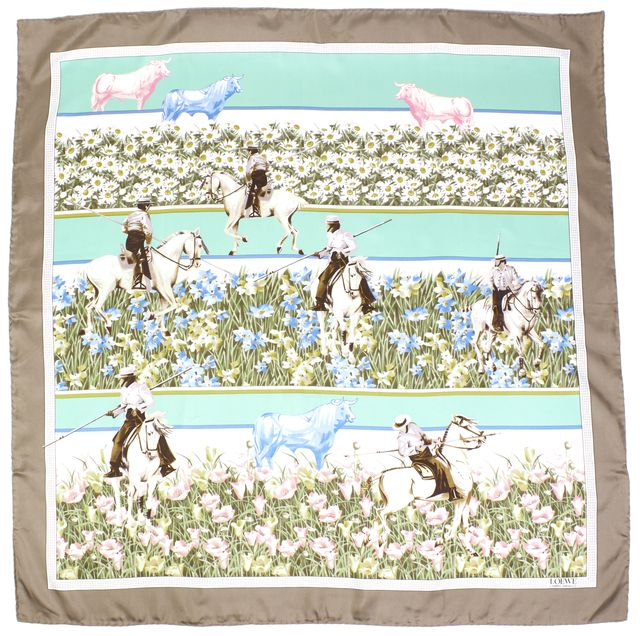 LOEWE Multi-Color Horse Print Silk Large Square Scarf