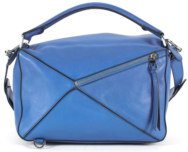 LOEWE Blue Calf Leather Small Puzzle Top Handle Shoulder Bag