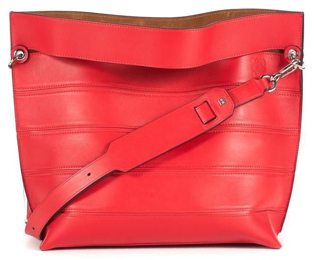 LOEWE Red Leather Silver Tone Hardware Strip Shoulder Bag