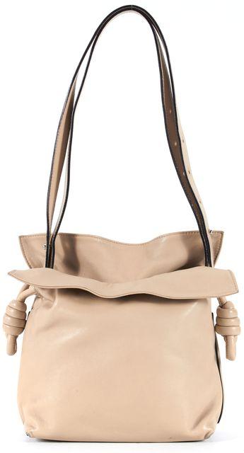 LOEWE Beige Leather Flamenco Knot Small Bucket Shoulder Bag